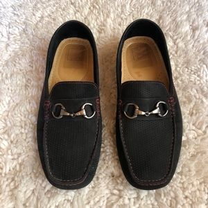 14th & Union Men's buckle black loafer driver